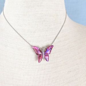 Jewelry - Silver/Pink Butterfly Adjustable Necklace JT-M
